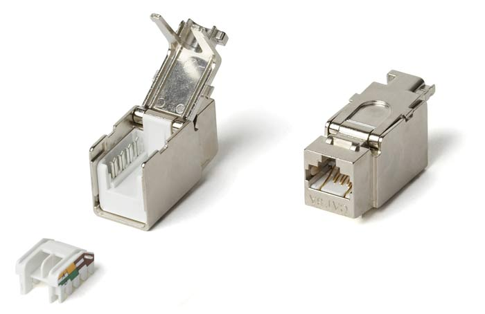 Category 6a (10G) Keystone Jack RJ-45 (8P8C), Fully Shielded, Toolless, White