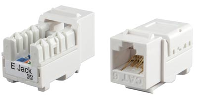 Category 6 Keystone Jack RJ45, 110 IDC, for termination with E-TOOL, white