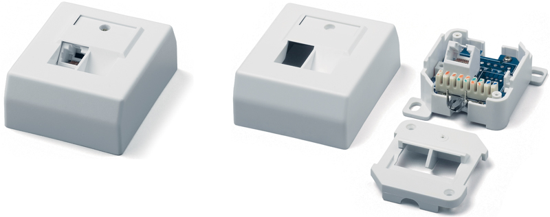 Surface Wall Mount Box RJ-45, Category 5e, German standard, single