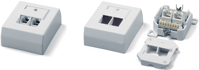Surface Wall Mount Box RJ-45, Category 5e, German standard, dual