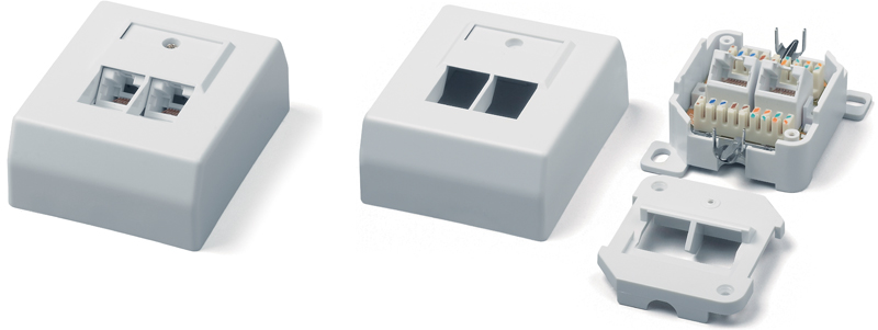 Surface Wall Mount Box RJ-45, category 6, German standard, Dual