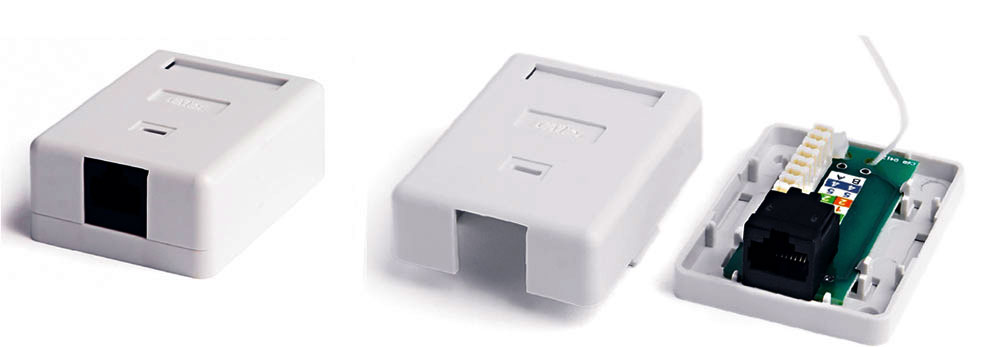 Surface Wall Mount Box RJ-45, Category 6, Single, White, 47x64.5x25.2 mm