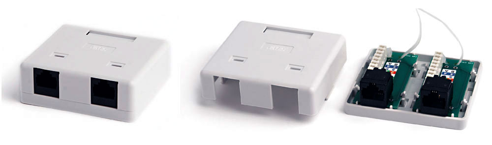 Surface Wall Mount Box RJ-45, Category 6, Dual, White, 71.45x64.5x25.2 mm