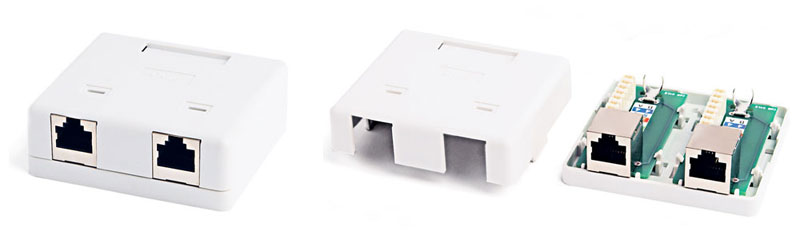 Surface Wall Mount Box RJ-45, Category 6, Shielded, Dual, 71.45x64.5x25.2 mm