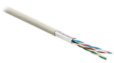 Shielded twisted pair cable (STP), category 6 (300 MHz), 4 pairs, stranded (patch), 26AWG