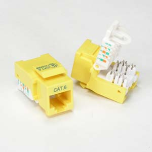 icc cat 6 inserts icc cat 6 jacks icc modular connectors icc 101705yw more info tool less cat 6 rj45 110 type keystone jack